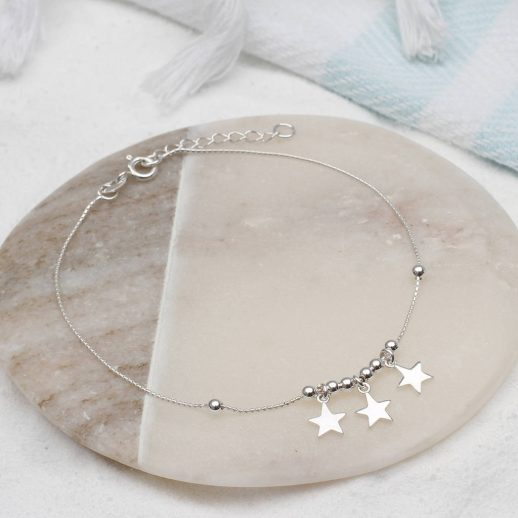 original personalised silver star heart and bell anklet
