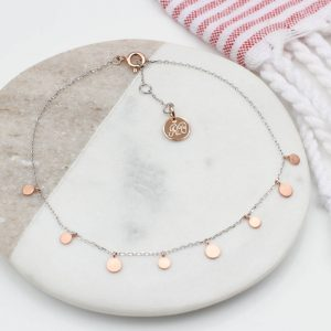 Rose gold and sterling silver coin anklet