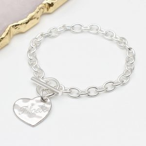 personalised sterling silver toggle clasp charm bracelet